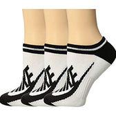 Nike耐吉- 女3包組條紋運動襪(黑色)