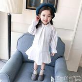 女童連身裙洋裝 女童白色純棉襯衫連身裙小女孩寶寶長袖公主裙 寶貝計畫