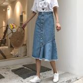 A字裙 夏裝女裝韓版中長款高腰單排扣A字裙牛仔包臀裙魚尾半身裙長裙潮 維科特3C