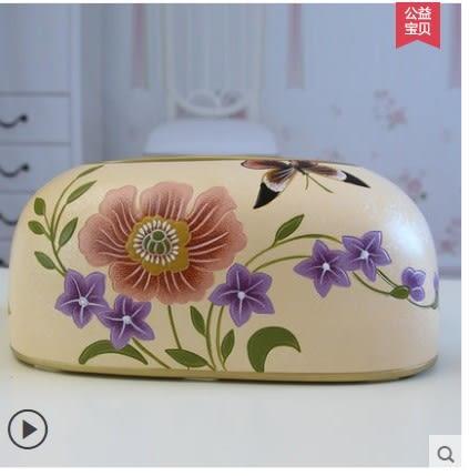 [銀聯網] 手繪陶瓷紙巾盒抽紙盒紙巾筒 1入