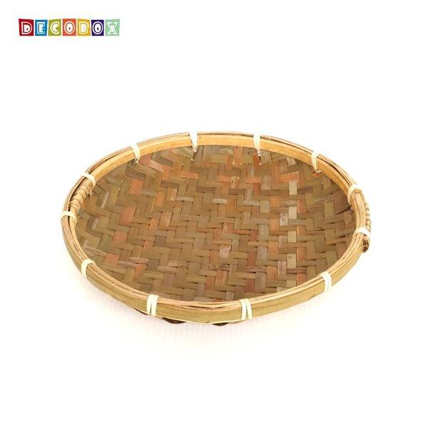 DecoBox日曬用薄竹盤(21公分-5個)(竹編織盤.乾阿.湯圓篩.洗菜籃.黑蒜頭.竹篩)