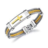 【5折超值價】經典流行時尚鋼絲編織十字造型男款鈦鋼手環