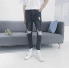 找到自己品牌 男 時尚 潮 街頭 時尚 黑色 簡單款 破洞 休閒牛仔褲 九分褲 直筒褲