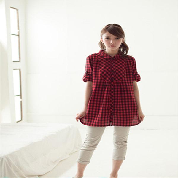 襯衫【2951】FEELNET中大尺碼女裝2018夏裝新款薄款中長款格紋襯衣40碼
