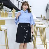 中大尺碼~雙層荷葉邊長袖襯衫(XL~4XL)