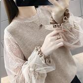 針織衫 洋氣針織長袖女毛衣秋冬裝新款百搭蕾絲接拼鏤空打底針織衫-Ballet朵朵