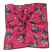 DAKS 花卉印紋純綿帕領巾(紫紅色)989108-137