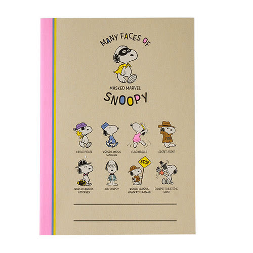 《sun-star》SNOOPY螢光角色扮演系列B5膠裝筆記本(集合)★funbox生活用品★ OP49880