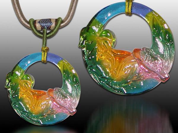 鹿港窯~居家開運水晶琉璃項鍊~牽牛花 附精美包裝◆免運費送到家◆