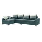 【采桔家居】迪斯可 時尚亞麻布L型獨立筒沙發組合(二色可選&四人座+椅凳)
