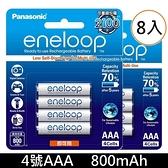 【免運+贈收納盒】國際牌 Panasonic 低自放充電池 eneloop 4號800mAh 鎳氫充電池(可充電約2100次)x8顆