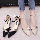時尚尖頭拼色高跟鞋女春秋新款韓版百搭性感中空一字扣帶涼鞋