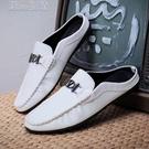 半拖鞋男21夏季新款男鞋韓版潮流一腳蹬透氣小白鞋社會休閒板鞋男半拖鞋 快速出貨