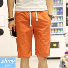 【Y109】shiny藍格子-夏日型男.夏季新款抽繩休閒寬鬆五分褲