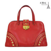 【巴黎站二手名牌專賣店】*現貨*PRADA 真品*BN2753 紅色圓形鉚釘飾邊肩背/手提包