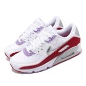 Nike 休閒鞋 Wmns Air Max 90 白 紅 女鞋 漆皮設計 氣墊 運動鞋 【PUMP306】 CU3004-176