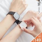 手錶 金屬質感刻度霧面壓紋皮革中性大方錶-BAi白媽媽【306009】