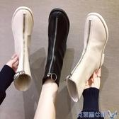 靴子 前拉鏈馬丁靴女秋冬季新款英倫風黑色短靴中筒guidi春秋單靴 年前鉅惠