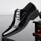 男鞋夏季潮鞋休閒皮鞋男士尖頭英倫韓版百搭黑色涼鞋鏤空商務鞋子 【PINKQ】