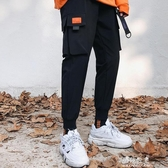 文藝男秋季男士褲子韓版潮流青少年學生工裝束腳褲哈倫褲 伊莎gz