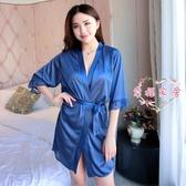 浴袍 睡袍女夏季性感睡衣冰絲蕾絲短袖系帶絲滑睡裙