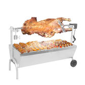燒烤架 露行者加大號不銹鋼烤全羊燒烤爐 全自動烤雞木炭家用商用燒烤架 JD新年鉅惠