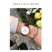 DW手錶 官方旗艦店 34mm銀框 Dapper 淺棕真皮皮革  - Daniel Wellington