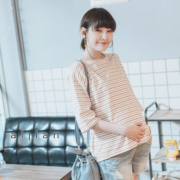 愛戀小媽咪 正韓 孕婦裝 繽紛感撞色條紋五分袖上衣