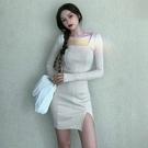 長袖洋裝 小黑裙子新款秋冬季收腰顯瘦法式氣質性感長袖緊身連身裙女-Ballet朵朵