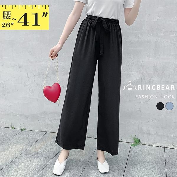寬褲裙--法式慵懶情調附綁帶彈性鬆緊褲頭高腰雪紡寬褲(黑.藍L-3L)-P154眼圈熊中大尺碼◎