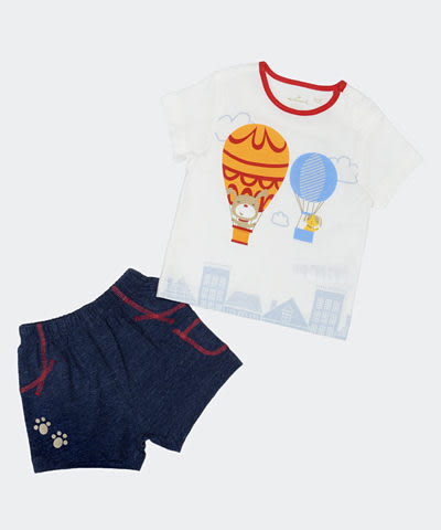 Hallmark Babies 嬰兒熱氣球兩件套裝 (短袖上衣+短褲) HD1-A06-04-BU-MG