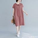 棉麻連身裙 2020新款森系娃娃領文藝寬鬆格子中長半袖裙子棉麻大碼女裝連身裙 愛麗絲