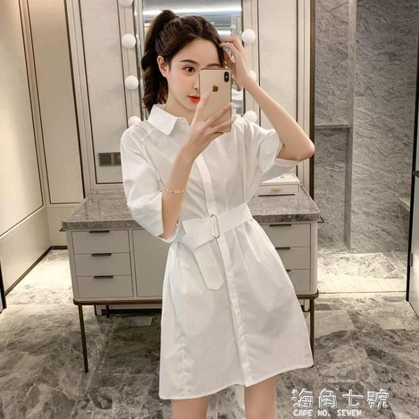 2020新款夏季韓版寬鬆polo領收腰中長款白襯衫女設計感小眾洋裝 元旦全館免運