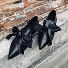 手工真皮尖頭低跟復古大蝴蝶結休閒鞋兩穿/設計家分店 X3004