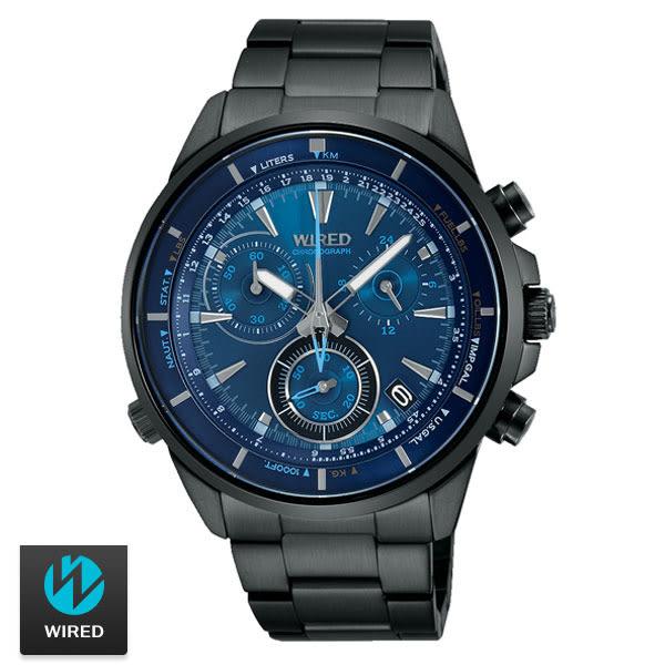《買就贈G-SHOCK》WIRED 科技感碼表三眼藍面黑鋼男錶 水晶玻璃鏡面 公司貨 AY8003X1 | 名人鐘錶