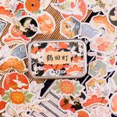 【BlueCat】鶴田町鐵盒裝燙金貼紙 手帳貼紙 (60枚入)