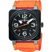 Bell & Ross Aviation 限量版軍事飛行機械腕錶-黑x橘/42mm BR0392-O-CA/SRU