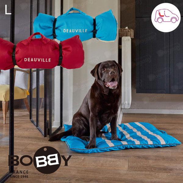 法國《BOBBY》豔陽條紋睡墊 旅行用睡墊 大型狗床 隨處睡 寵物住宿專用 大型犬外出用 車用墊