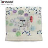 日製 雙層(紗布+毛巾)厚質手帕 - 藍色菊唐草
