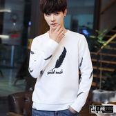 『潮段班』【HJ001244】韓版簡約羽毛滿版印花圓領長袖T恤