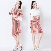 喇叭袖長袖上衣+短裙(兩件套)-紅白條紋時尚大方女裙裝2色73lk18[巴黎精品]