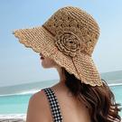花朵草帽女夏天防曬涼帽子夏大帽檐小清新遮陽帽可折疊海邊沙灘帽