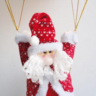 毛絨降落傘聖誕老人掛件