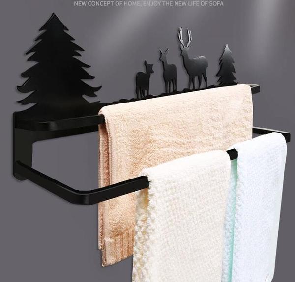 免釘打孔毛巾架衛生間雙桿掛鉤廚房抹布架掛毛巾架浴室雙層毛巾桿 向日葵