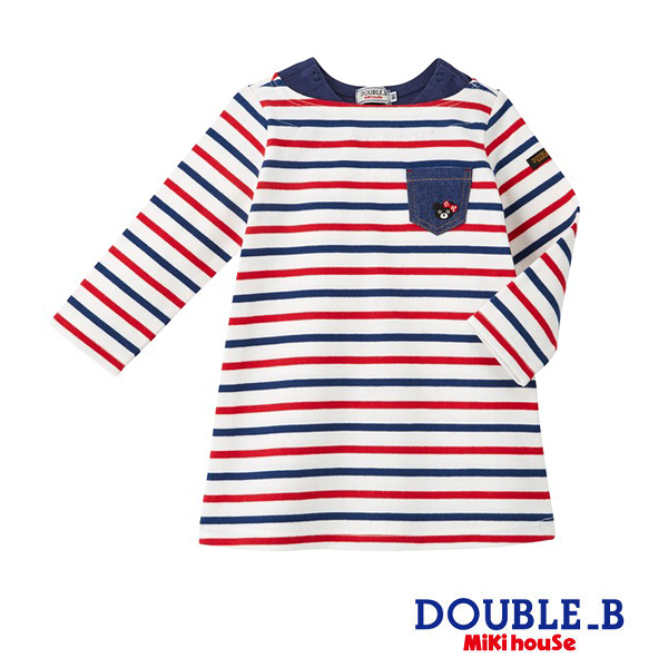 DOUBLE_B Everyday 黑熊妹經典條紋洋裝(紅/藏藍)