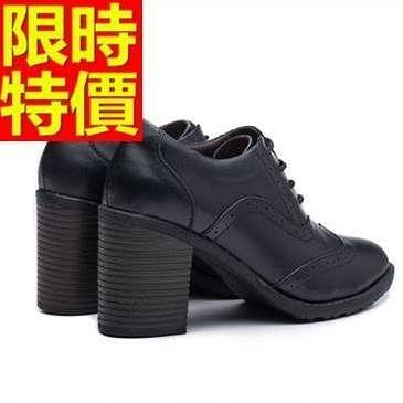 牛津鞋-高跟騎士風率性粗跟真皮女皮鞋65y27[巴黎精品]