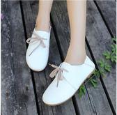 小皮鞋  平底單鞋女小白鞋韓版繫帶小皮鞋學生軟面小皮鞋舒適 宜室家居