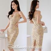 7687#2021夏裝新款韓版氣質修身吊帶裙中長款蕾絲包臀時尚連身裙 阿卡娜
