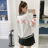 棒球外套 韓版 甜美蝴蝶結綁帶長袖短款