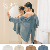Queen Shop【01023760】微透感後開衩設計襯衫 四色售*現+預*